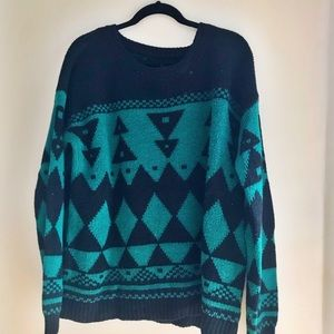 Green and black patterned over-sized sweater